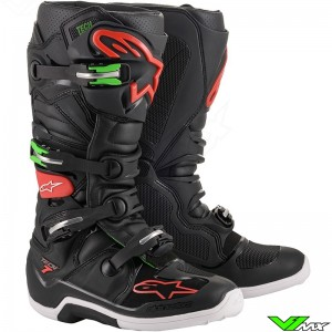 Alpinestars Tech 7 Motocross Boots - Black / Red / Green