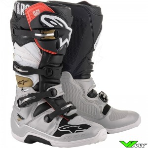Alpinestars Tech 7 Motocross Boots - Black / Silver / White / Gold