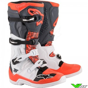 Alpinestars Tech 5 Motocross Boots - White / Grey / Fluo Red