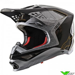 Alpinestars Supertech M10 Crosshelm - Alloy / Zilver / Carbon / Goud