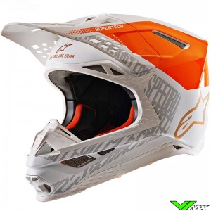 Alpinestars Supertech M8 Motocross Helmet - Triple / Fluo Orange / White