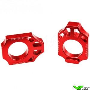 Scar Rear Axel Adjuster Blocks Red - Honda CR125 CR250 CRF250R CRF450R CRF250X CRF450X CRF450RX