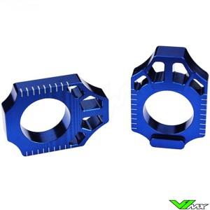 Scar Rear Axel Adjuster Blocks Blue - Yamaha YZ125 YZ250 YZ250X YZF250 YZF450 WR250F WR450F WR250R