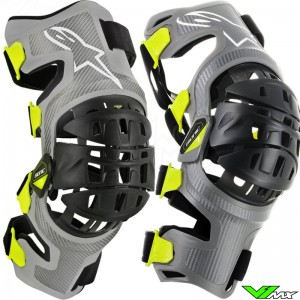 Alpinestars Bionic 7 2019 Knee Brace Set - Silver / Fluo Yellow