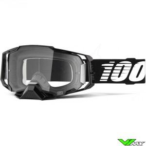 100% Armega Black Motocross Goggle - Clear Lens