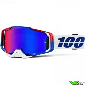100% Armega Genesis Motocross Goggle - Hiper Mirror Blue/Red