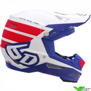 6D ATR-2 Stripe Motocross Helmet - Red / Blue / Mat
