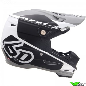 6D ATR-2 Shadow Motocross Helmet - Black / White / Mat