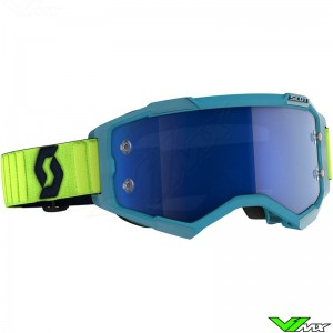 Scott Fury Motocross Goggle - Teal / Blue / Neon Yellow