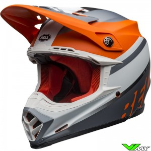 Bell Moto-9 Prophecy Mat Motocross Helmet - Orange / Grey