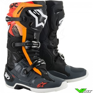 Alpinestars Tech 10 Motocross Boots - Black / Orange / Fluo Red