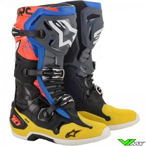Alpinestars Tech 10 Motocross Boots - Black / Yellow / Blue / Fluo Red