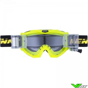 Kenny Track Max Motocross Goggle with Roll-off - Neon Yellow