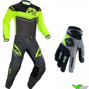 Kenny Track Kid 2020 Youth Motocross Gear Combo - Grey / Neon Yellow