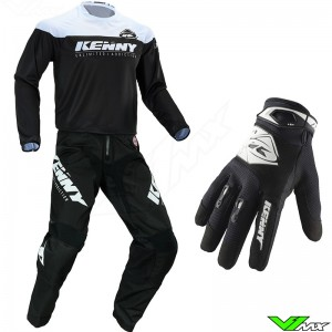 Kenny Track Raw Kid 2020 Youth Motocross Gear Combo - Black / White