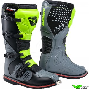 Kenny Track Motocross Boots - Grey / Neon Yellow