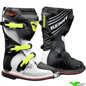 Kenny Track Youth Motocross Boots - White / Black / Neon Yellow
