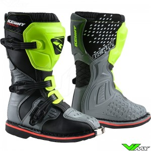 Kenny Track Youth Motocross Boots - Grey / Neon Yellow