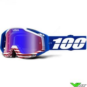 100% Racecraft Anthem Crossbril - Mirror Blauw Rood