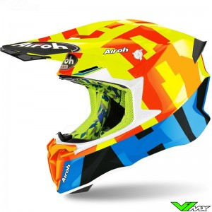 Airoh Twist Motocross Helmet - Fluo Yellow / Orange / Blue