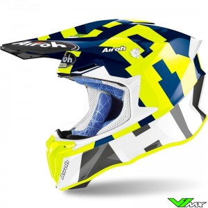 Airoh Twist Motocross Helmet - Blue / Fluo Yellow