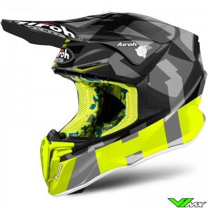 Airoh Twist Motocross Helmet - Fluo Yellow / Grey