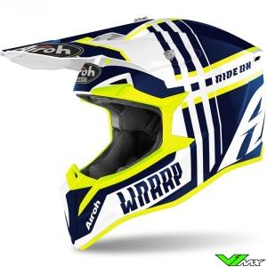 Airoh Wraap Motocross Helmet - Blue / Fluo Yellow