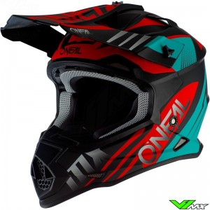 Oneal 2 Series Motocross Helmet - Spyde / Black / Teal / Red