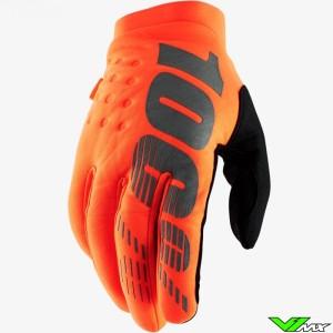 100% Brisker Youth Motocross Gloves - Fluo Orange