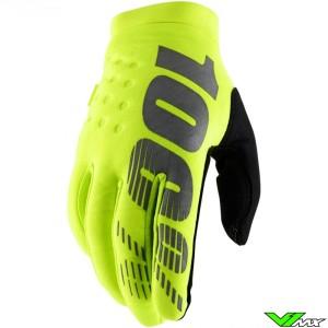 100% Brisker Youth Motocross Gloves - Fluo Yellow