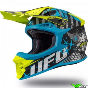 UFO Intrepid Motocross Helmet - Grey / Blue / Fluo Yellow