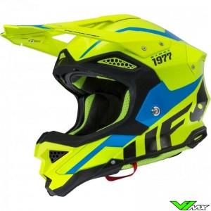UFO Diamond Motocross Helmet - Fluo Yellow / Blue