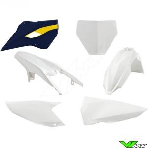 Rtech Plastic Kit White / HSQ Blue - Husqvarna FC250 FC350 FC450 TC125 TC250