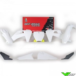 Rtech Plastic Kit White / Yellow / Grey - Husqvarna FC250 FC350 FC450 FC450RockstarEdition FX350 FX450 TC125 TC250 TX300