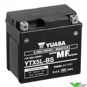 YUASA YTX5L-BS Accu 12V 4,2Ah - KTM Honda Yamaha Husqvarna Husaberg Sherco