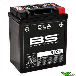 BS Battery BTX7L SLA Battery 12V 6Ah - Suzuki DR200 Honda CRF250L XR200