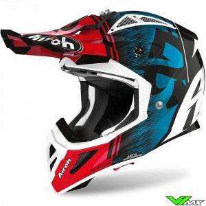 Airoh Aviator Ace Motocross Helmet - Kybon / Blue / Red