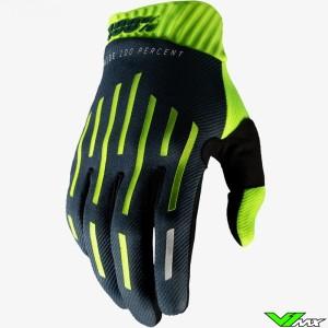 100% Ridefit Crosshandschoenen - Fluo Geel / Charcoal