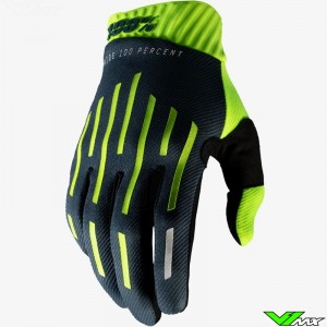 100% Ridefit Motocross Gloves - Fluo Yellow / Charcoal