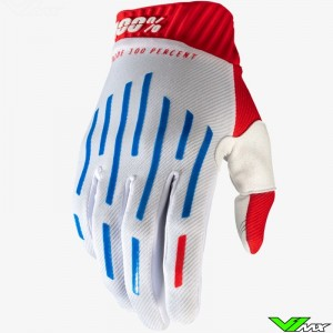 100% Ridefit Motocross Gloves - Red / White / Blue