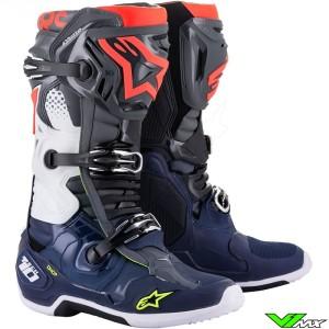 Alpinestars TECH 10 Motocross Boots - Dark Grey / Dark Blue / Fluo Red