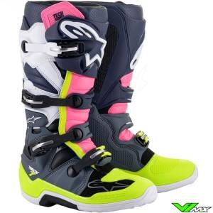 Alpinestars TECH 7 Motocross Boots - Dark Grey / Dark Blue / Fluo Pink