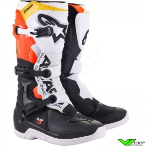 Alpinestars TECH 3 Motocross Boots - Black / White / Fluo Red / Yellow