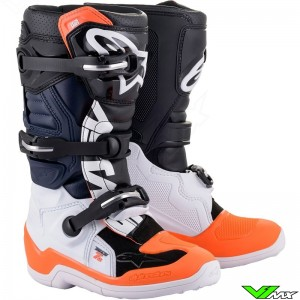 Alpinestars TECH 7S Youth Motocross Boots - Black / White / Fluo Orange