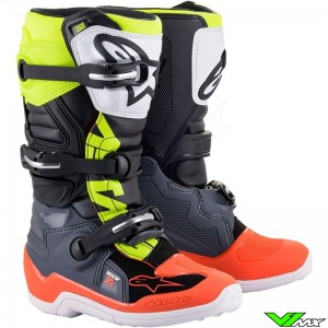 Alpinestars TECH 7S Youth Motocross Boots - Dark Grey / Fluo Red / Fluo Yellow