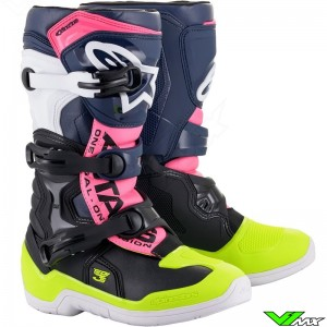 Alpinestars Tech 3S Youth Motocross Boots - Black / Dark Blue / Fluo Pink