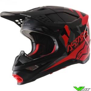 Alpinestars Supertech S-M8 Echo Motocross Helmet - Black / Grey / Fluo Red / Matt / Gloss