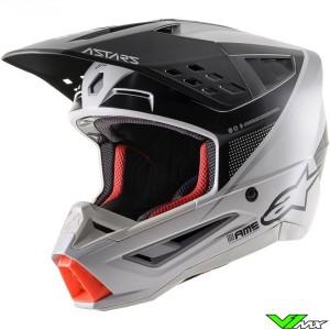 Alpinestars S-M5 Motocross Helmet - Light Grey / Black / Silver / Mat