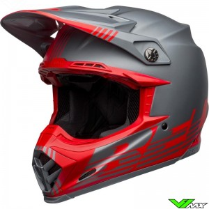 Bell Moto-9 Flex Louver Motocross Helmet - Grey / Red / Mat