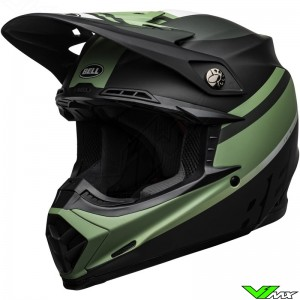Bell Moto-9 Prophecy Motocross Helmet - Black / Dark Green / Mat